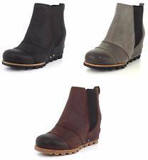 8cd326d79209 SOREL Women s Lea Wedge Leather Ankle Booties Collegiate Navy Sizes ...