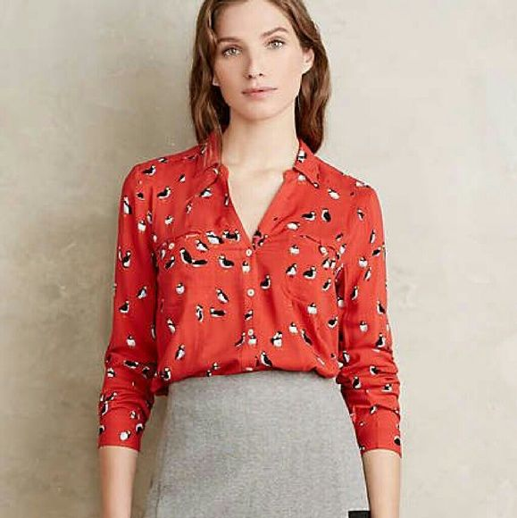 ac6ce1cb803b25 Maeve conversationalist puffin bird blouse 12p Gorgeous poppy red blouse  with puffin bird print by maeve, size 12 petite. Anthropologie Tops