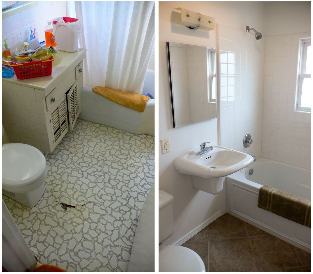Simply Beautiful Small Bathroom Remodel In White Theme With Wall Endearing Before And After Small Bathrooms Decorating Design