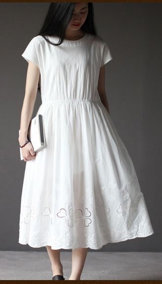 49c535396e5 White short sleeve sundress cotton summer dresses oversize fit flare dress