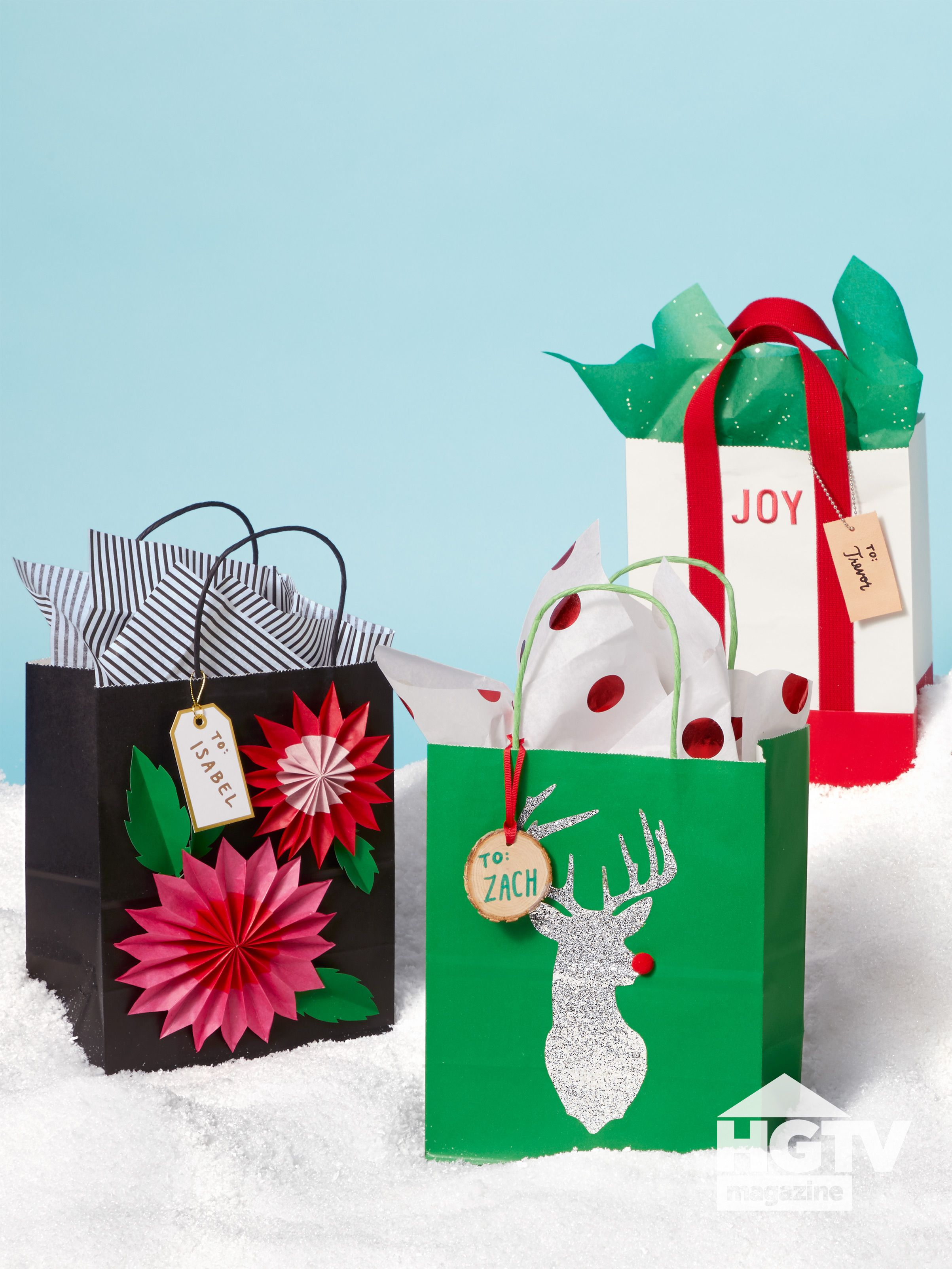 Green Red And White Diy Holiday Gift Bag Ideas From Hgtv Magazine Decorated Gift Bags Holiday Gift Bag Simple Holiday Gifts