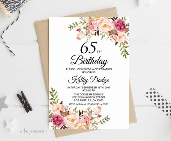 65th Birthday Invitation Floral Women Any Age Invite PERSONALI