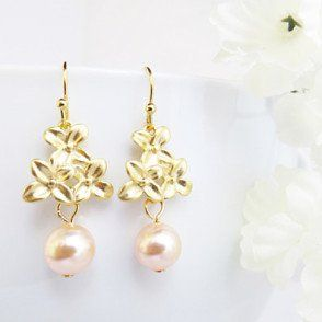 Champagne Cherry Blossom Pearl Earrings
