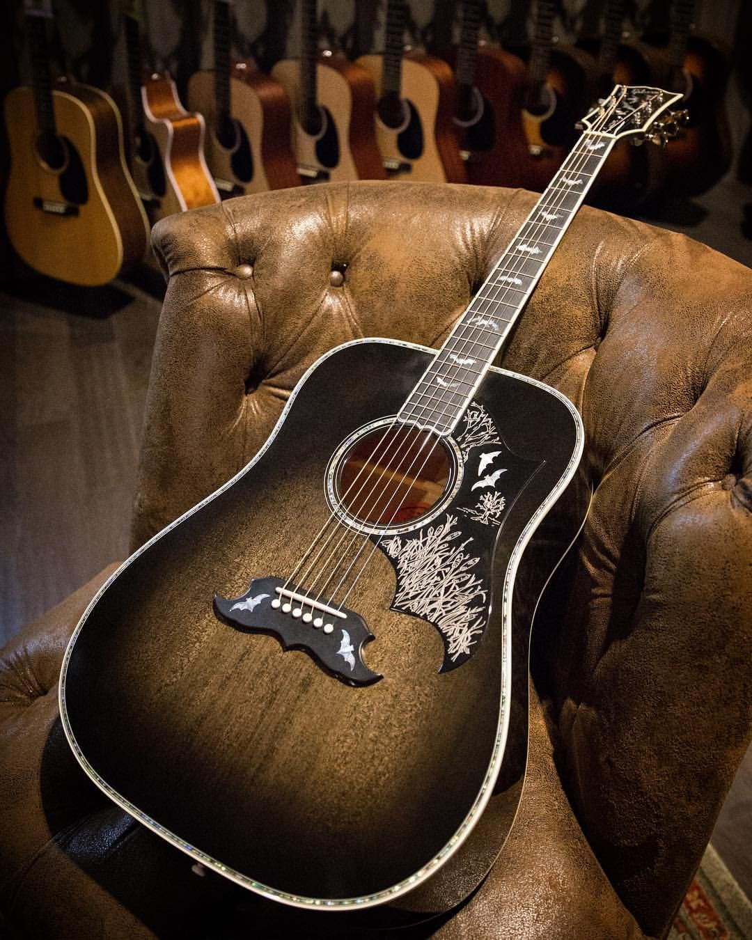 Happy Halloween We Re Eagerly Waiting For Nightfall To Celebrate With This Gibsoncustom Bats In Flight Aco Gibson Acoustic Acoustic Guitar Guitar