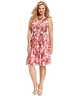 Sl Fashions Plus Size Dress Sleeveless Ruched Floral Print Lace