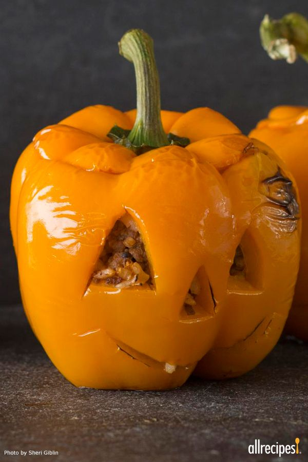 """Stuffed Jack-O-Lantern Bell Peppers 