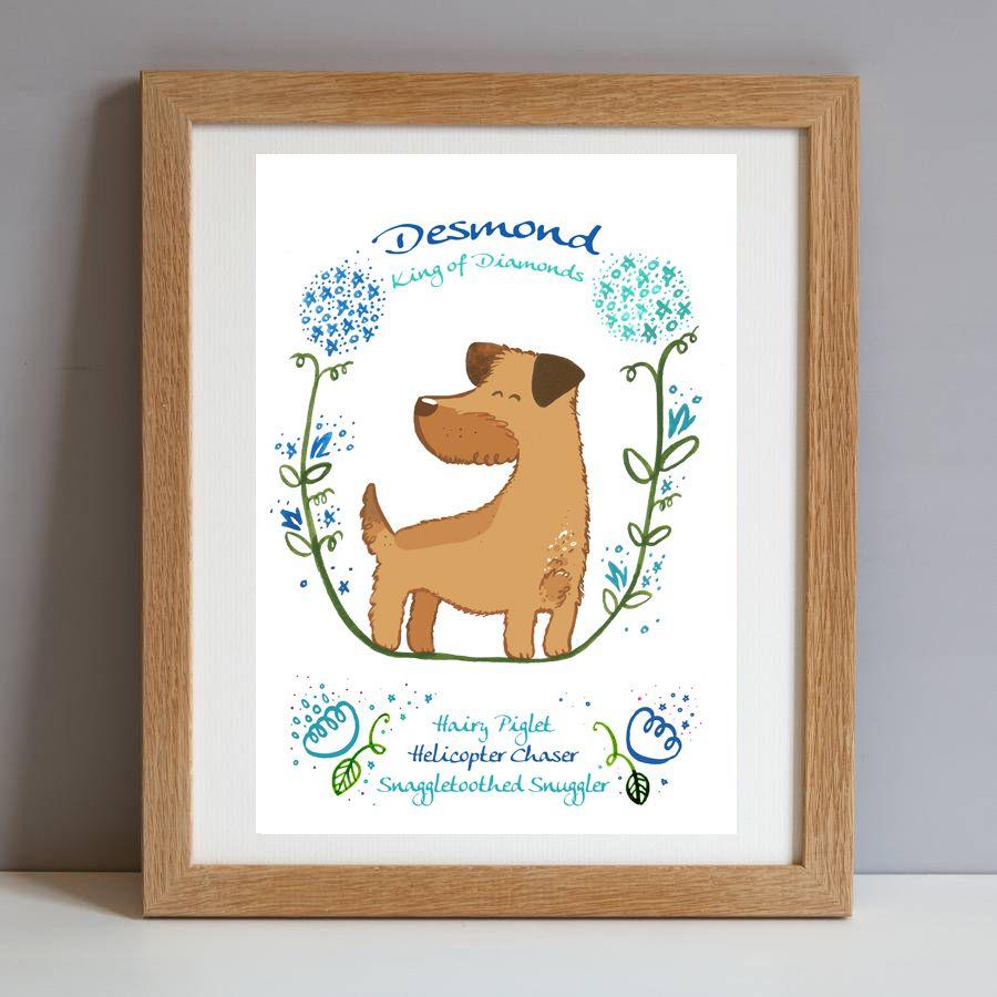 Border Terrier Personalised Dog Print