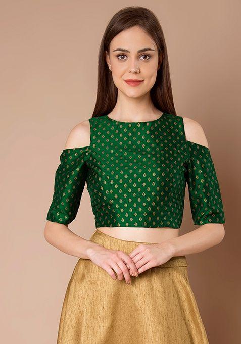 5ea81c9121b98 Cold Shoulder Silk Crop Top - Green Foil  Fashion  FabAlley  CropTop   DiwaliCollection