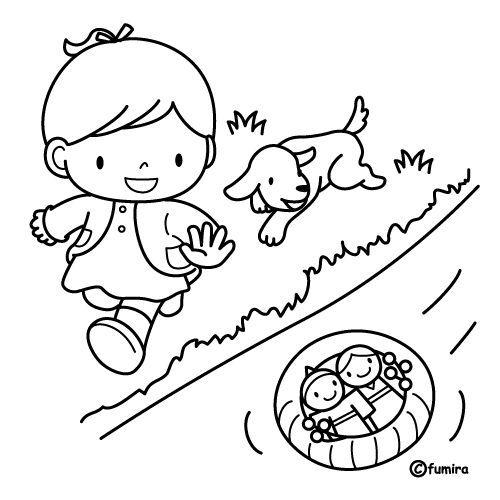 Nina Jugando En Rio Nino Jugando Dibujo Ninos Jugando Paginas Para Colorear