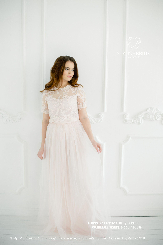 bc10e5f1bc Biscuit Blush Albertine Dress, Lace Tulle Dress, Long Blush Engagement  Waterfall Skirts, Blush Prom Dresses Plus Size, Wedding Lace Dress by ...