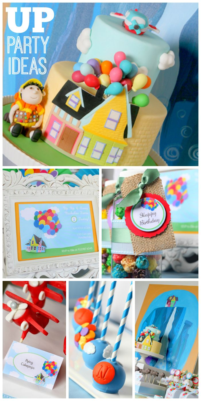 """Such an incredible birthday party based on the movie """"UP"""" with colorful balloons and a gorgeous cake! See more party ideas at CatchMyParty.com!"""