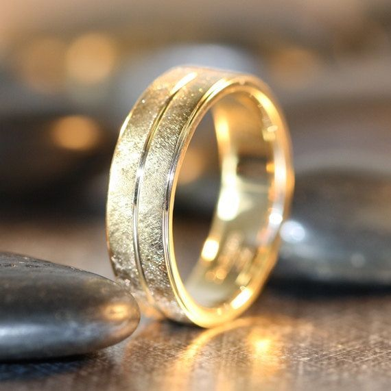 Handmade Man Wedding Ring In Solid 14k Yellow Gold Comfort Fit Wedding Band  For Men Brushed