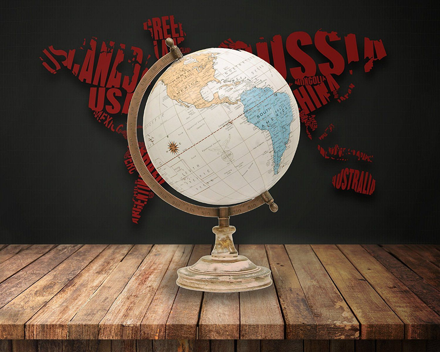 Amazon globe 8 inch desktop decorative rotating national amazon globe 8 inch desktop decorative rotating national geographic wooden antique world globe with stand big earth texture vintage political map gumiabroncs Images