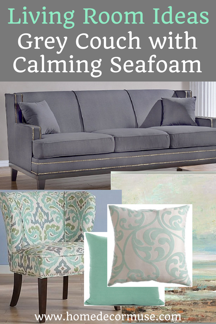 Grey Couch With Calming Seafoam Accents Home Decor Muse Grey