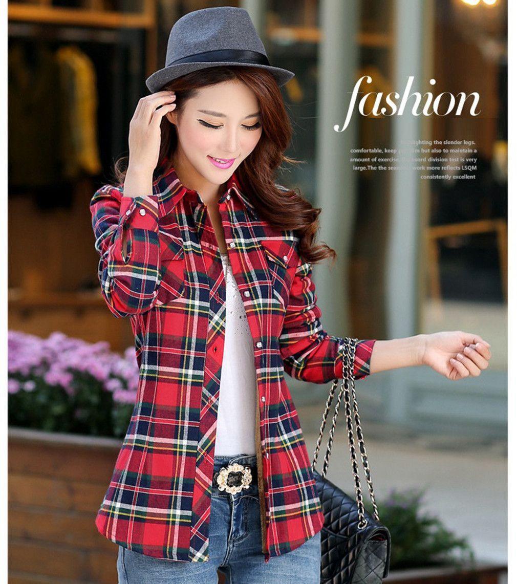 Flannel cardigan womens  Fashion Tops Blouse Plaid Shirt Women Colorful Long Sleeve