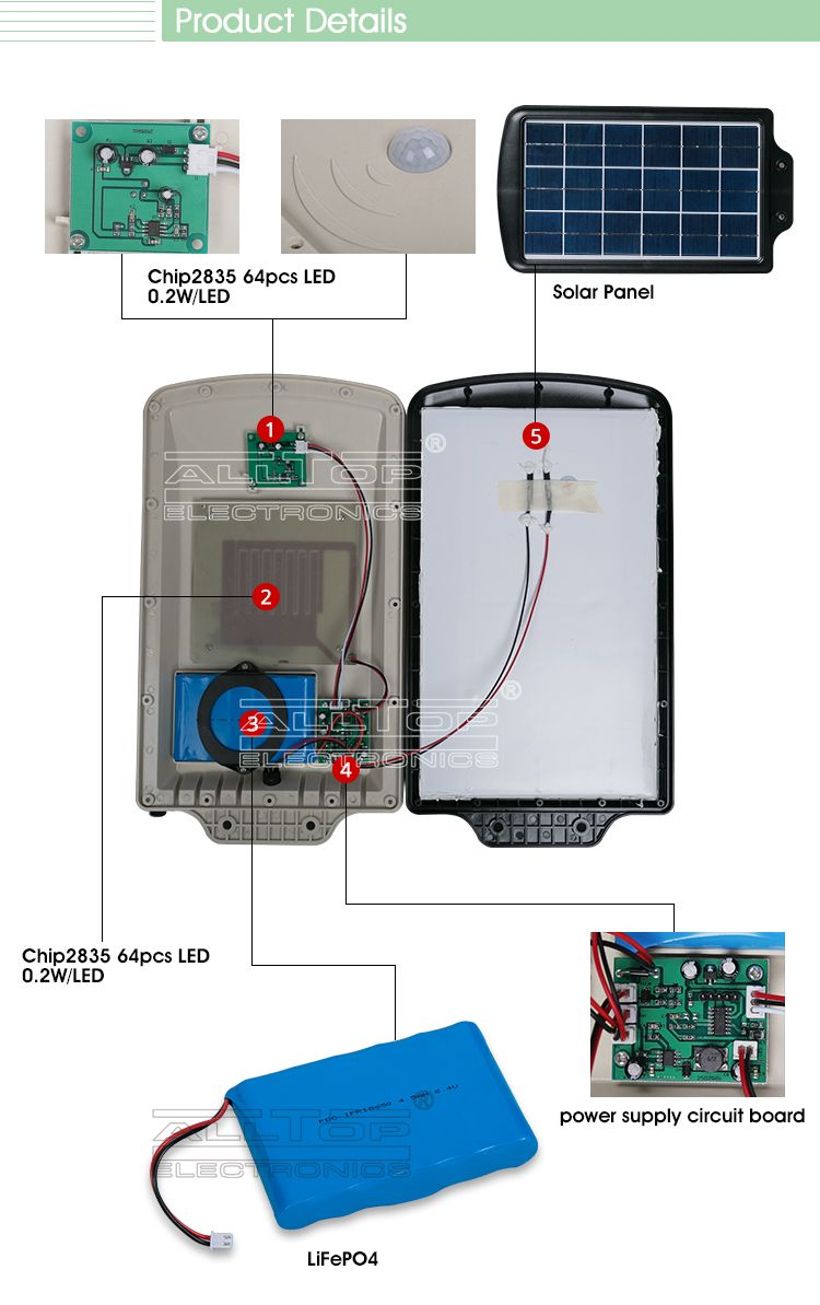 6w Motion Sensor Integrated Led All In One Solar Street Light Price Circuit Images Buy