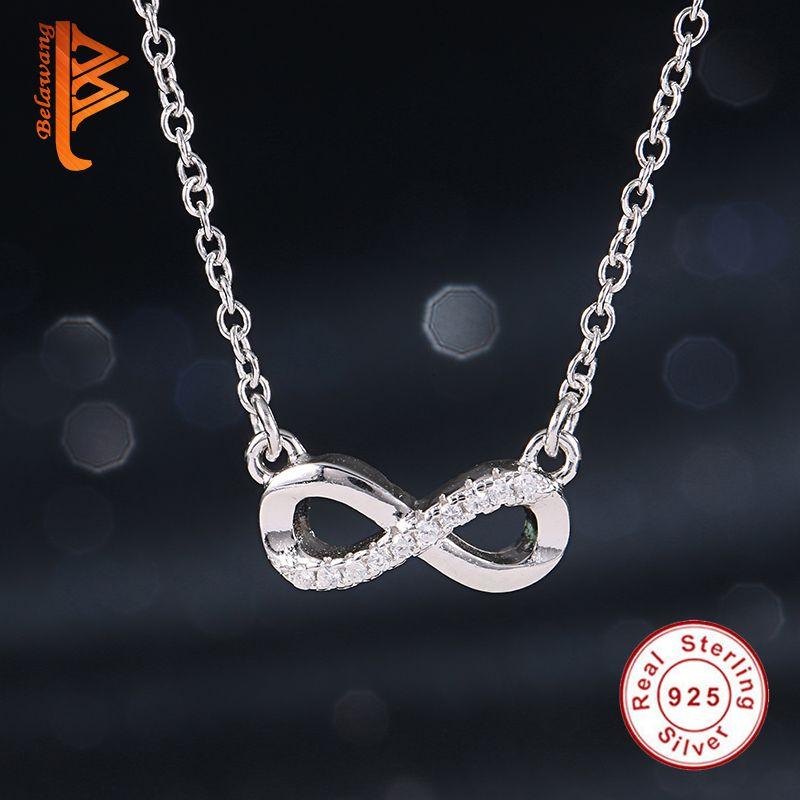 Original 925 Sterling Silber Charms Halsketten Pflastern Österreichischen Strass Unendlichkeit Anhänger Halskette Für Frauen Modeschmuck Geschenk
