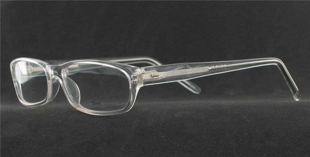 e1f933a7cf SOHO EYEWEAR 58 Eyeglasses CRYSTAL CLEAR Plastic Rectangular Frames Men  Women