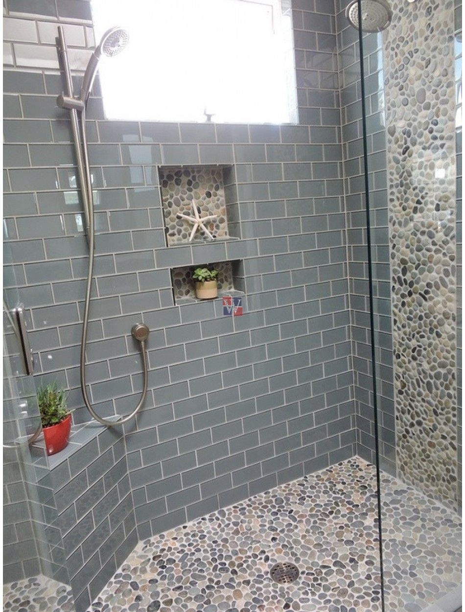 Lush 4x12 Azure Glass Subway Tile Pebble Tile Shower Pebble