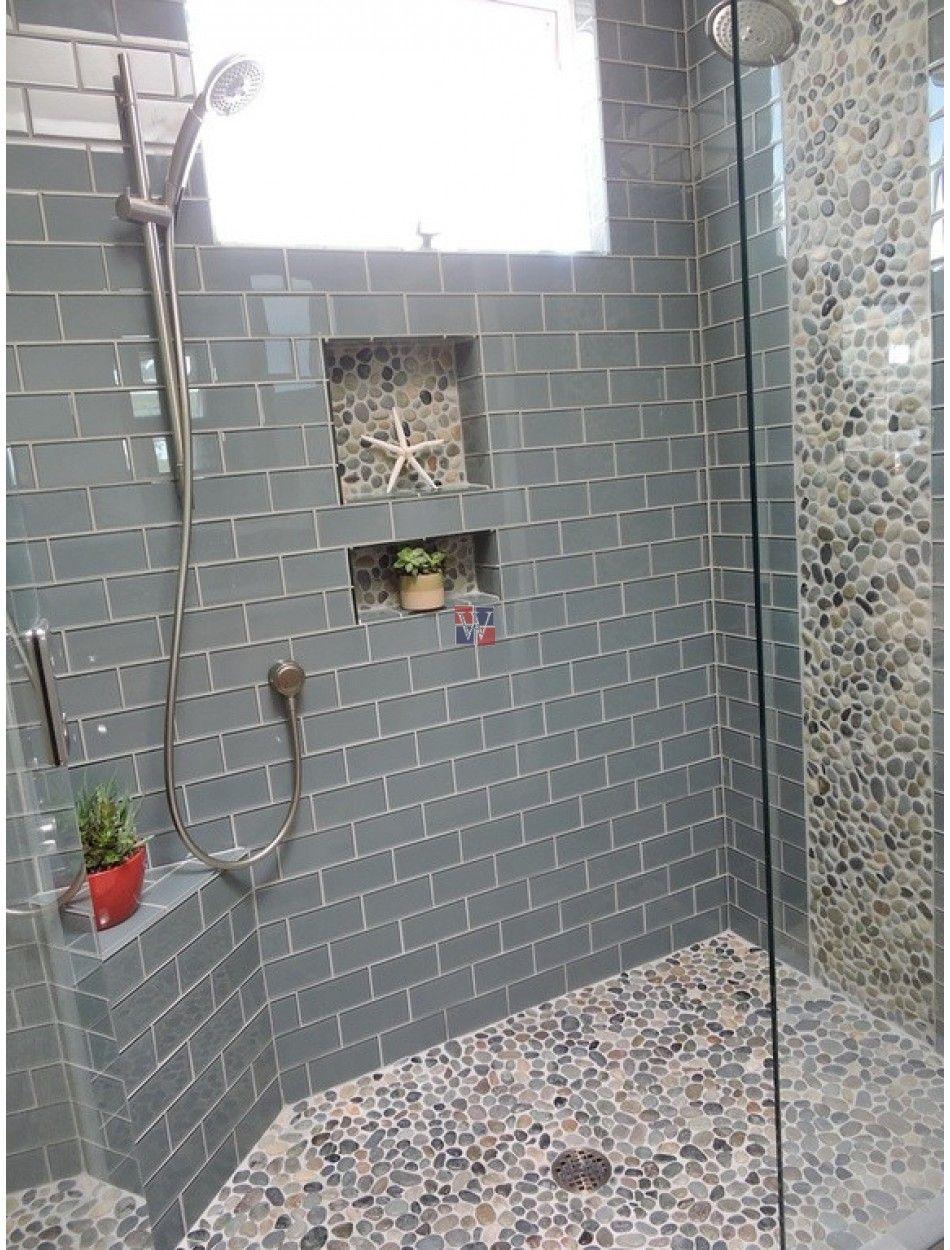 Buy Lush 4x12 Azure Glass Subway Tile Glass Subway Pebble Tile Shower Small Bathroom Tiles Shower Floor