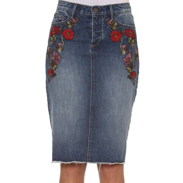 Driftwood Cotton-Blend Embroidered Pencil Skirt (126.850 COP) ❤ liked on Polyvore featuring skirts, medium blue, embroidered skirt, slim skirt, blue pencil skirt, zipper pencil skirt and embroidered pencil skirt