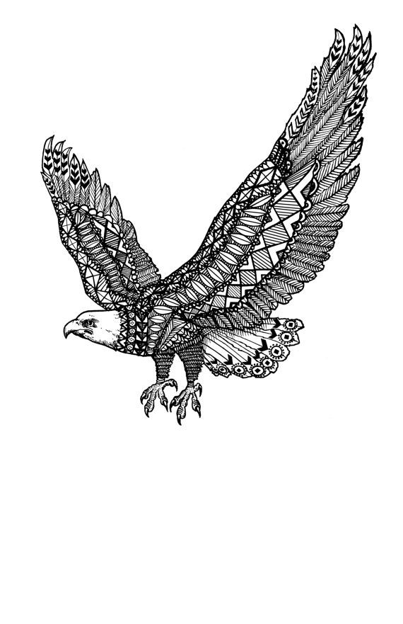 Line Art Zentangle : Quot xenith american eagle feather classic flying patterned