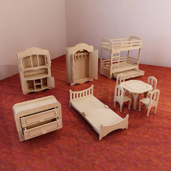 Big plywood Doll house v1 + Dolls furniture Pack. 1:6 scale vector model for CNC router and laser cutting. Barbie size dollhouse