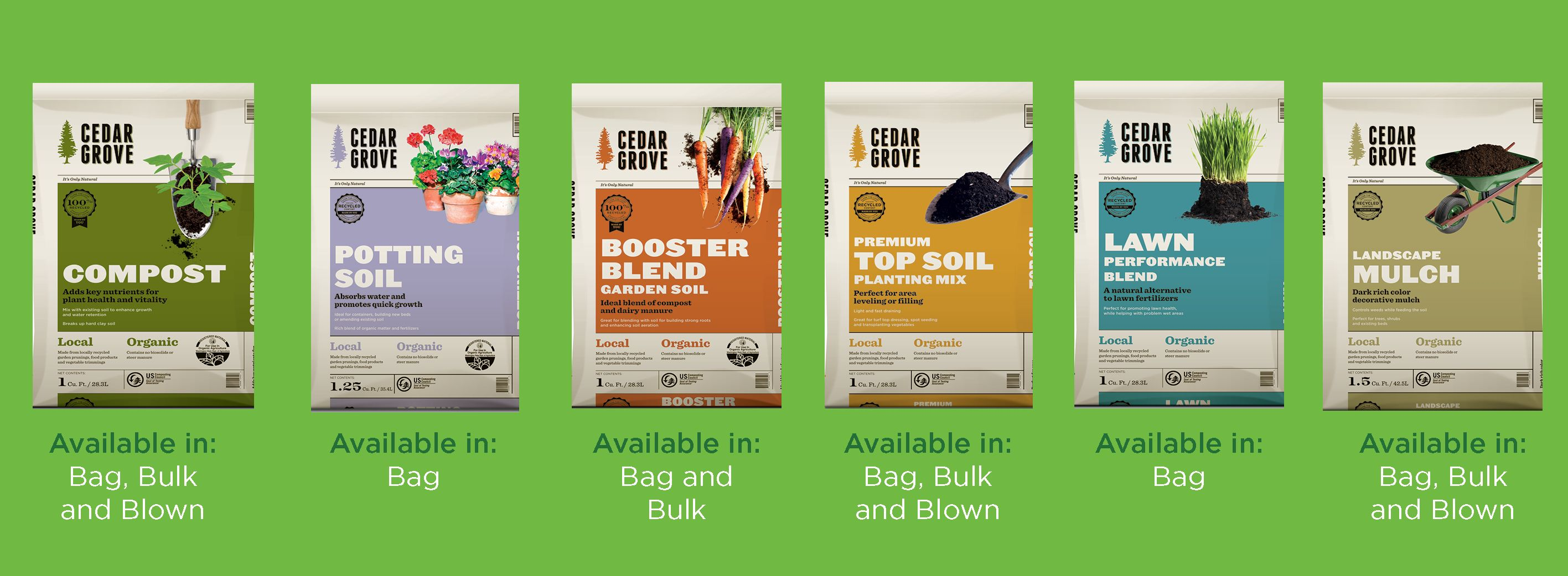 Variety of compost, soil, mulch & boosters! I get mine at Home Depot ...