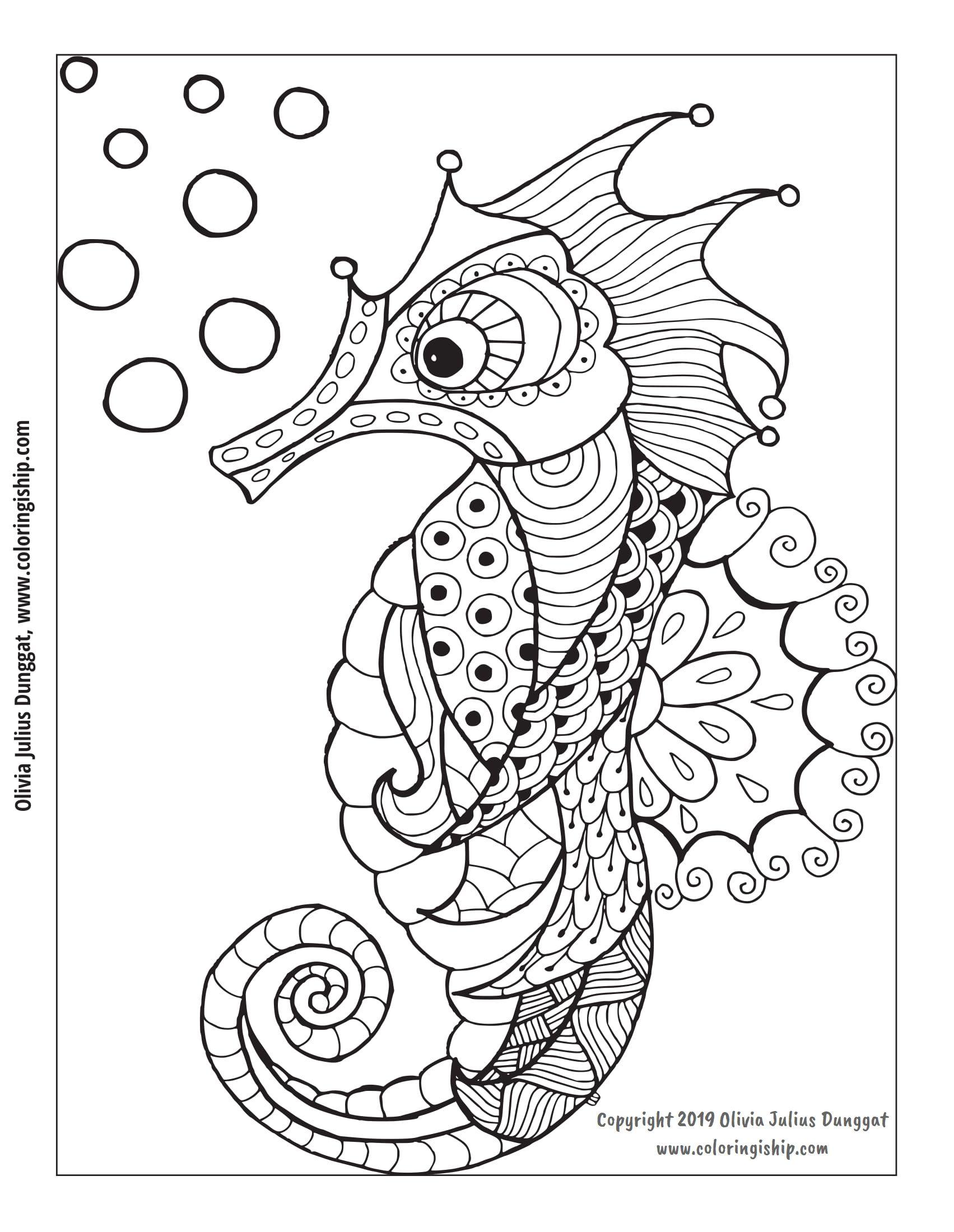 Simple Seahorse Drawing Seahorse Drawing Drawings Adult