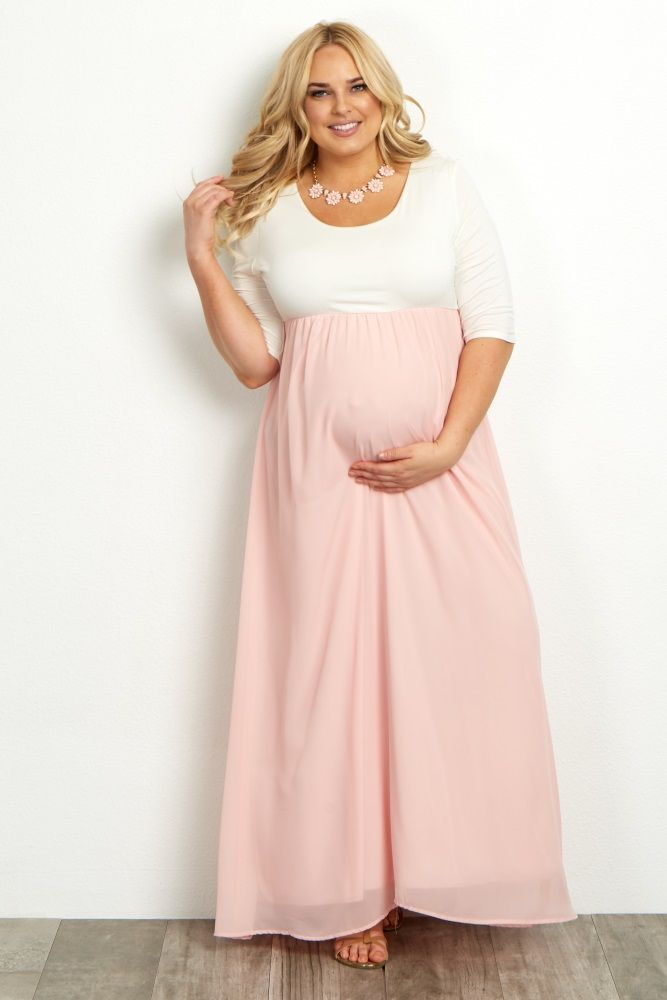 Light Pink Chiffon Colorblock Plus Maternity Maxi Dress | Maternity ...