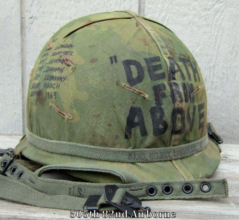 Vietnam M-1C Airborne Helmet & Paratrooper Liner. Camo