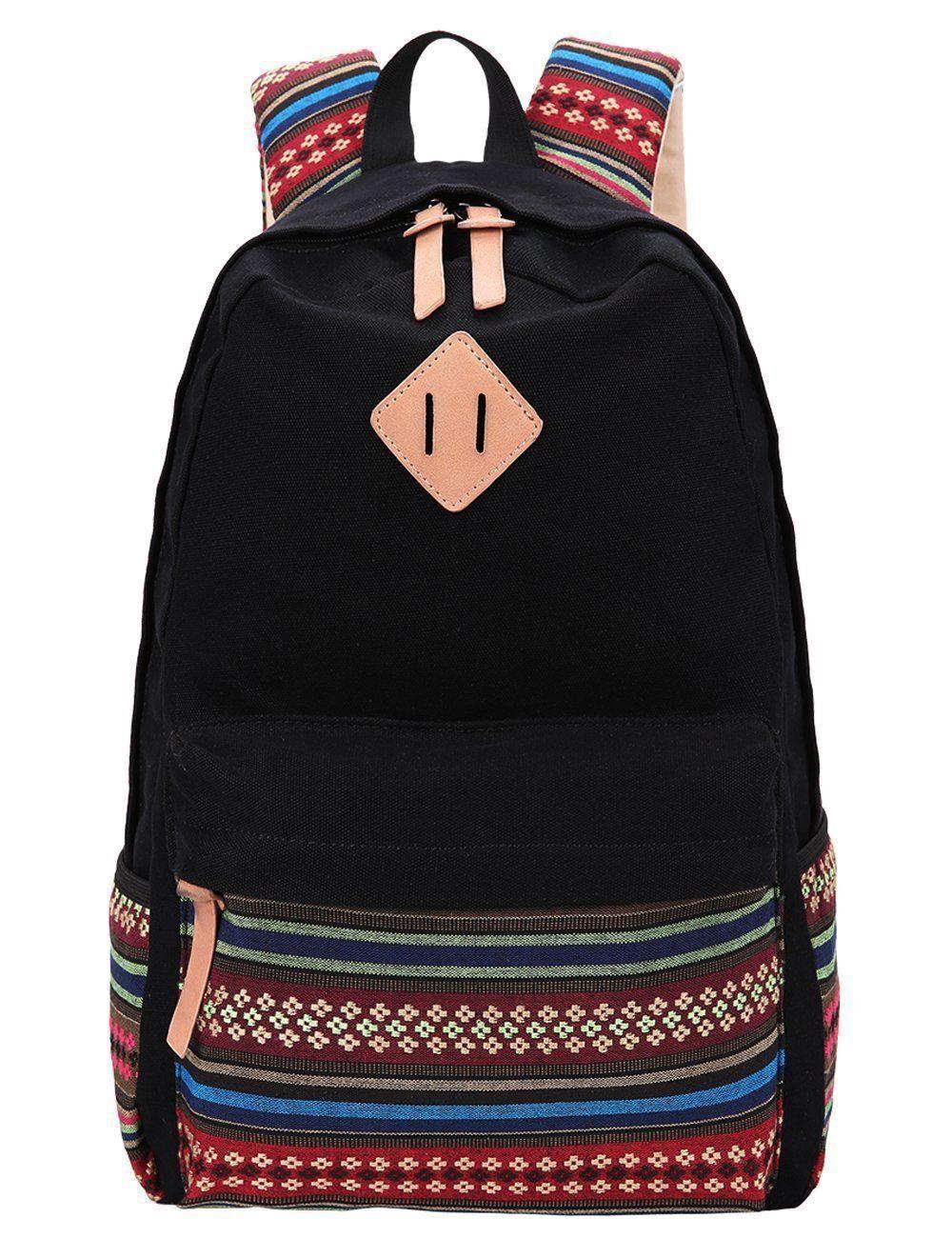 4ac3b3376d5 Hmxpls Unisex Fashionable Canvas Zip Bohemia Boho Style Backpack School  College Laptop Bag for Teens Girls Boys Students, Black