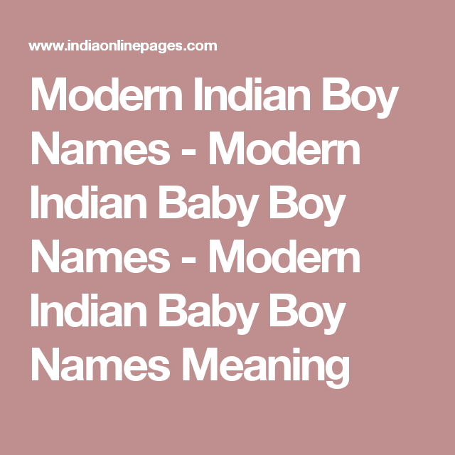 Baby boy names in indian modern