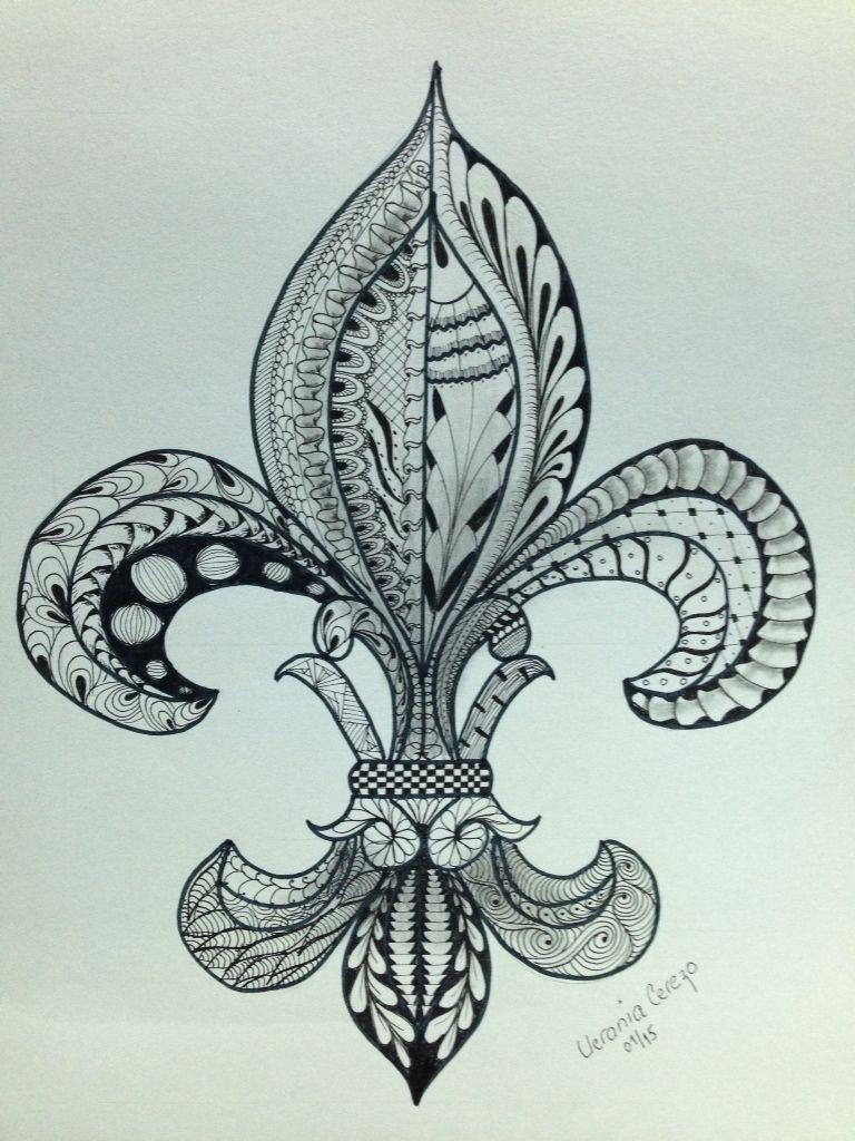 Flor De Lis Zentangle Mis Dibujos Flur De Lis Tattoo Henna