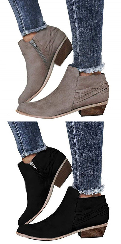 c0b006cc98123d  35.99 USD Sale! Free Shipping! Shop Now! Women Ankle Booties Casual Comfort  Zipper Plus Size Shoes