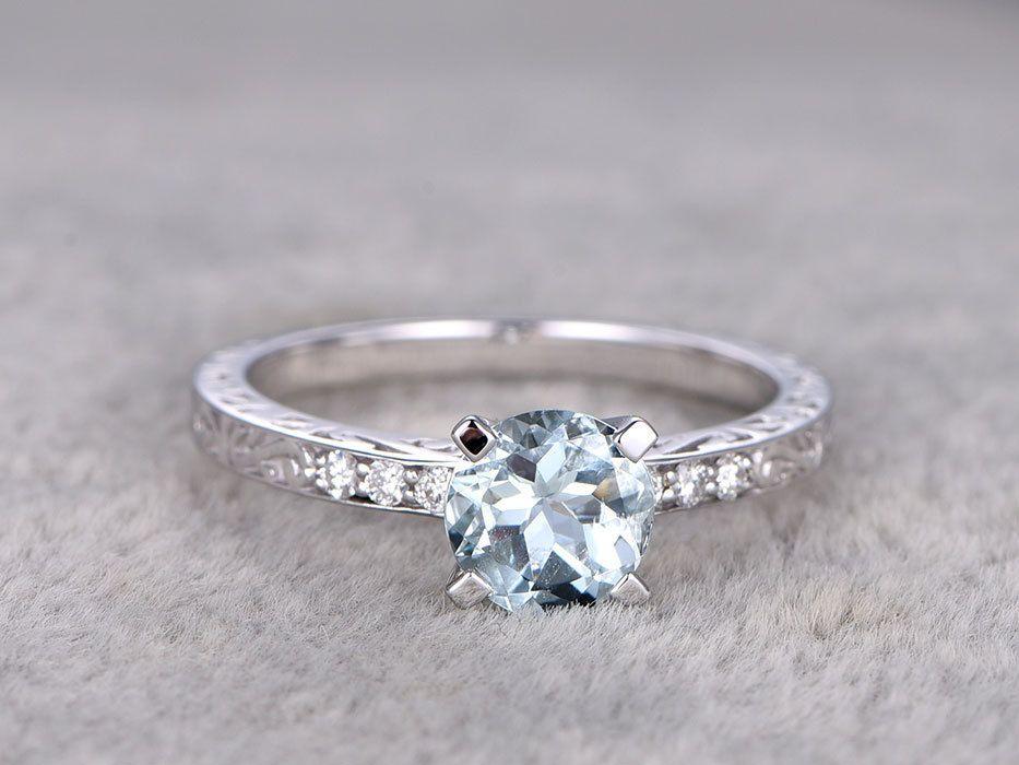 White Gold Aquamarine Engagement Rings With Diamonds 1 Carat Filigree Promise Band 14k/18k #aquamarineengagementring