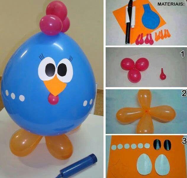 Gallina con globos decoraci n diy pinterest - Globos para fiestas ...