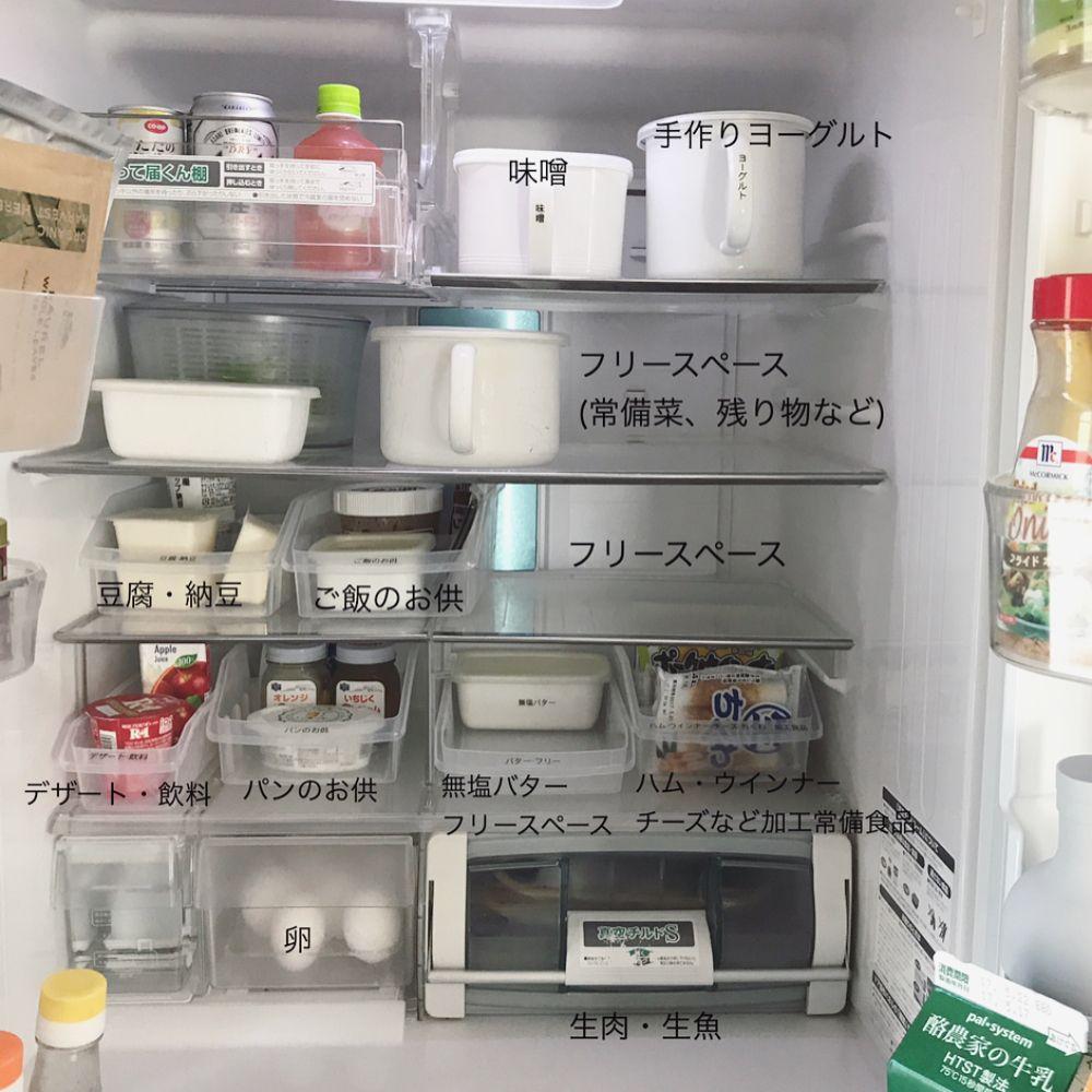 冷蔵庫収納 セリアのケースを使って冷蔵庫を整理してみたら とってもスッキリしました ざっくりグループ分けをして整理 残り物は鍋や食器ごと入れたりするので フリースペースはしっかり確保しました ケースに付いている可愛らしい花柄はシールになっていて簡単