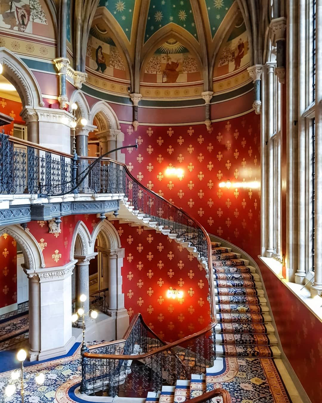 The Beautiful Staircase Of The St Pancras Renaissance Hotel