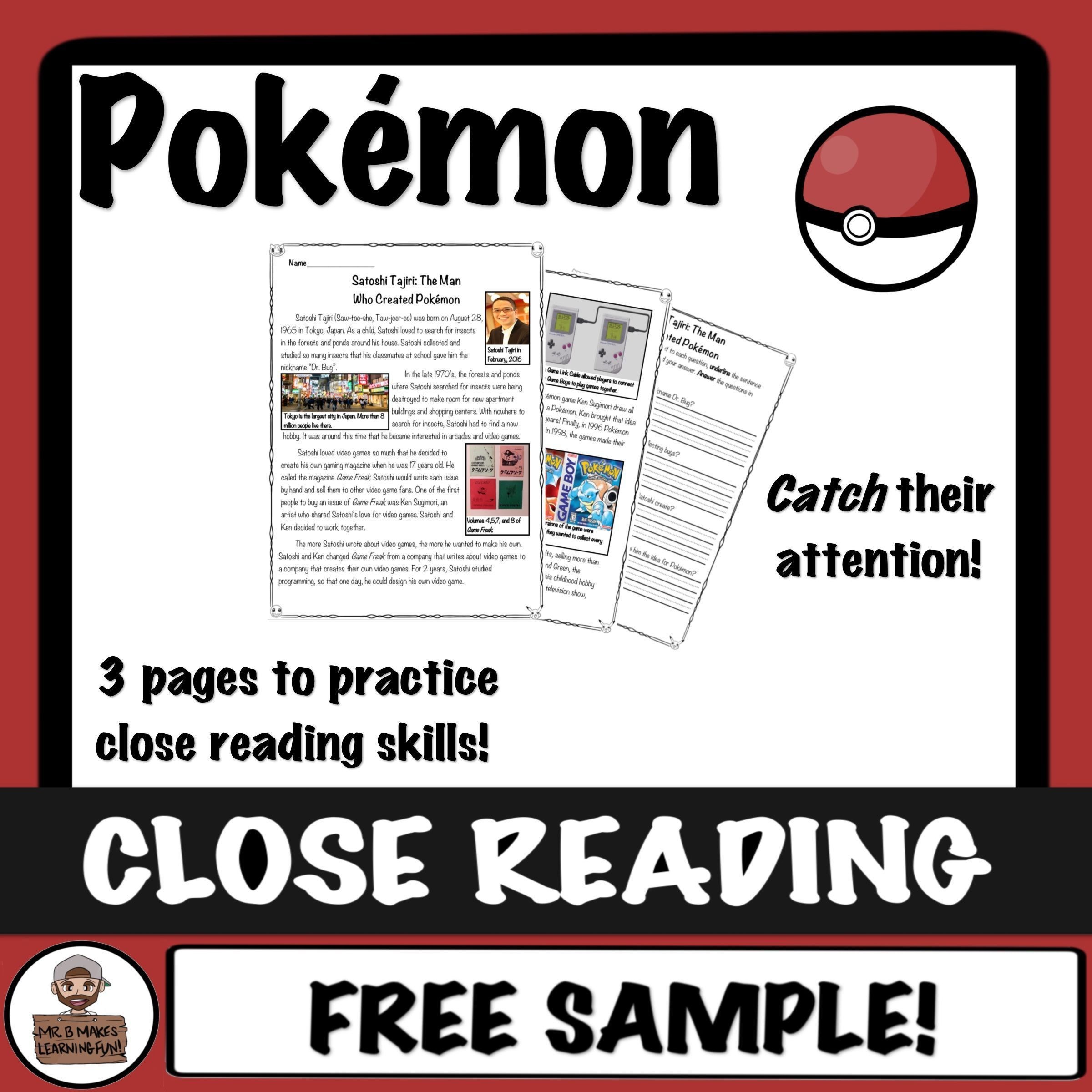 Pokemon Close Read And Worksheet