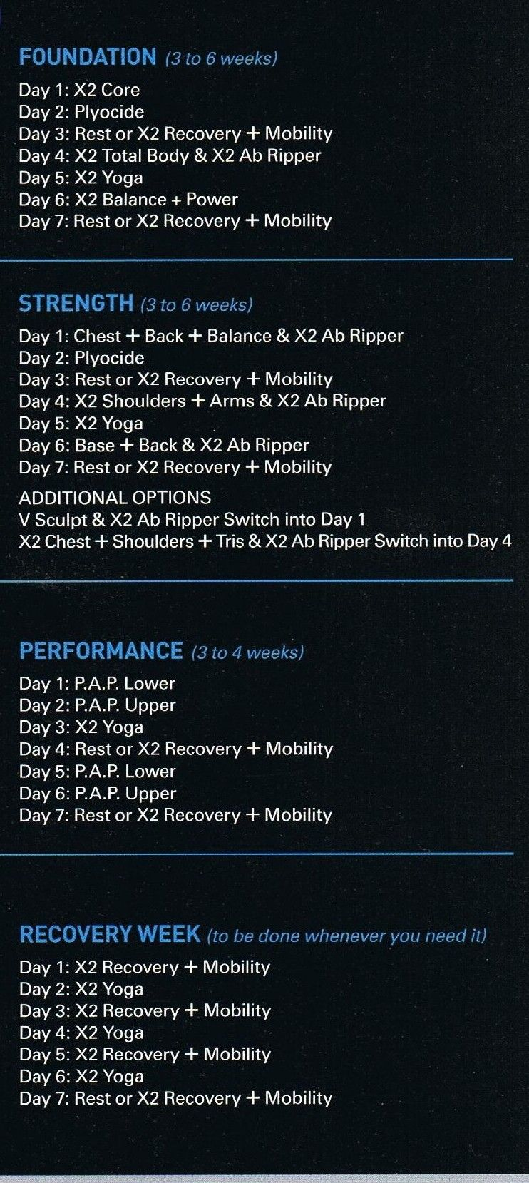P90X2-Workout-Schedule , calories burned | Exercise, Health ...