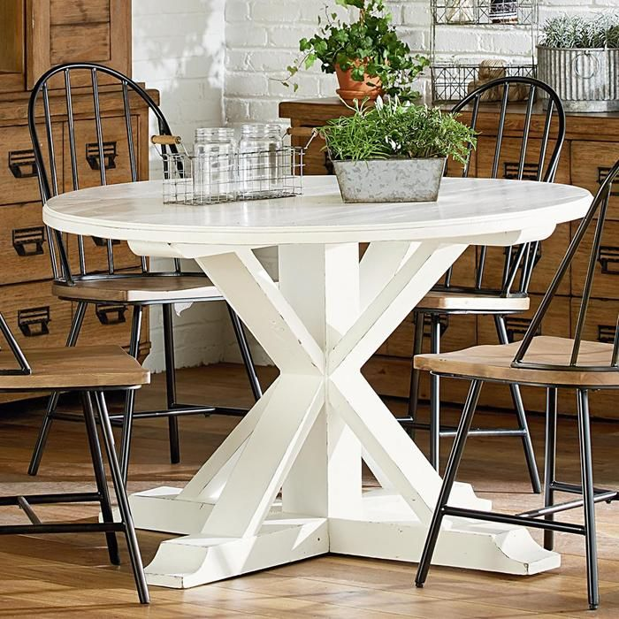 Farmhouse Childers Round Table In Jo S White Nebraska Furniture Mart