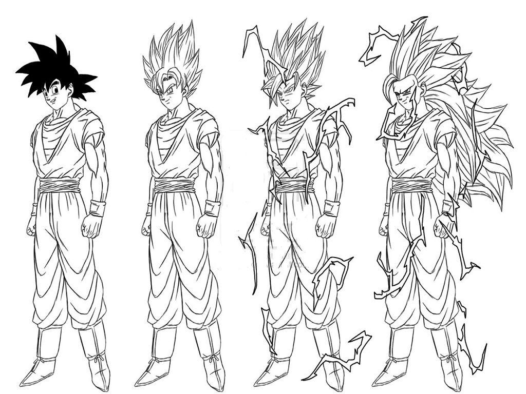 Super Saiyan Goku Coloring Pages Dragon Ball Dragon Mario Art