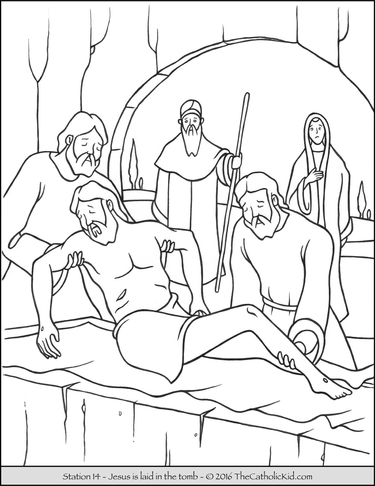 Stations of the Cross Coloring Pages 14 - Jesus is laid in the tomb ...