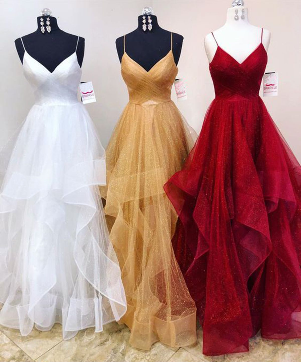 Unique spring long tulle ruffles evening dress prom dress from