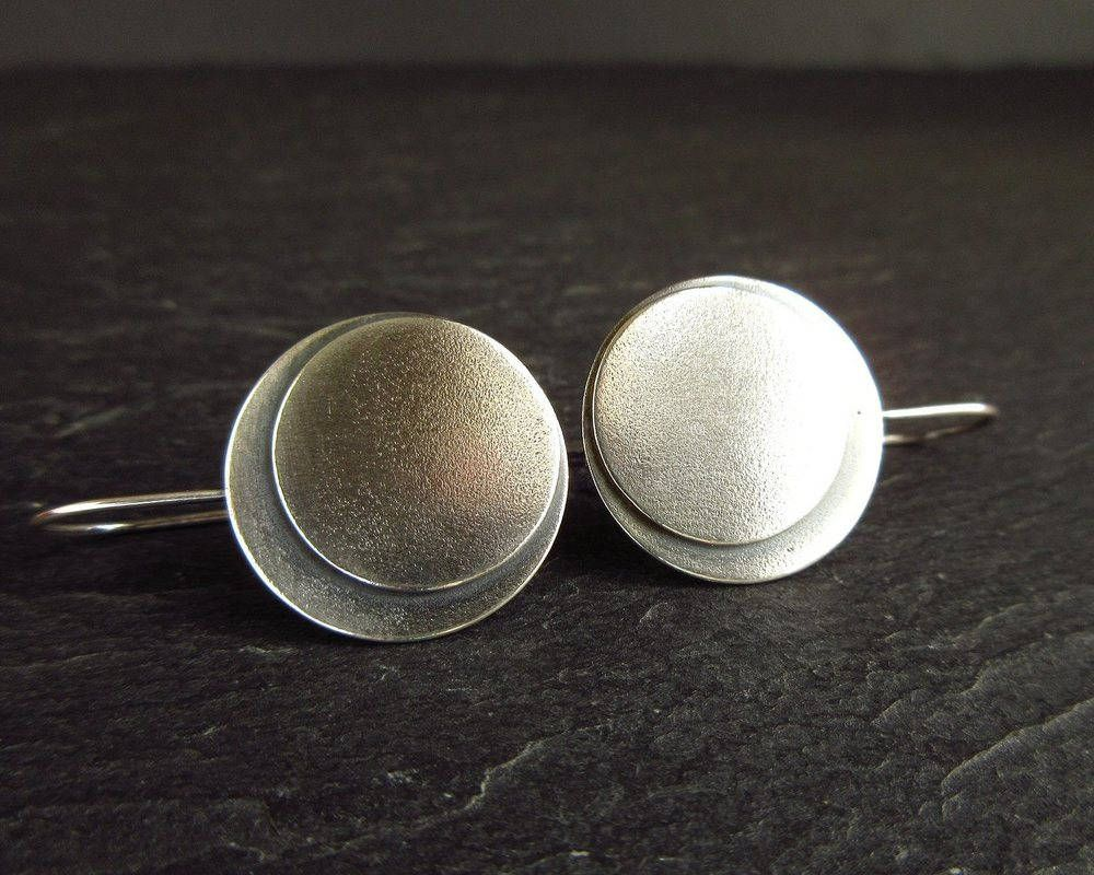 Sterling Silver Disc Earrings Layered Discs With Matt Finish Metalwork Jewelry Gifts
