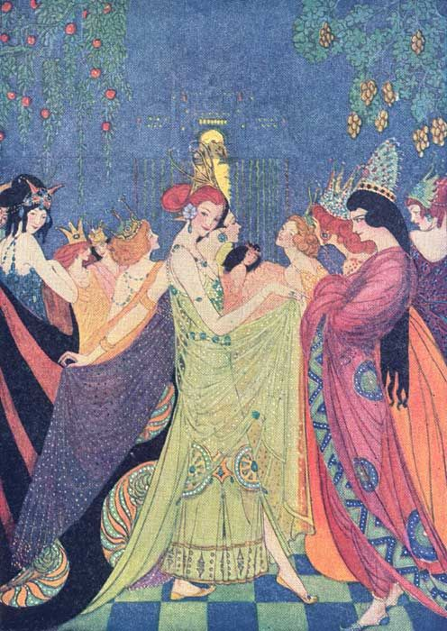 """The Twelve Dancing Princesses.""  Abbott, Elenore. Grimm's Fairy Tales. New York: Charles Scribner's Sons, 1920."