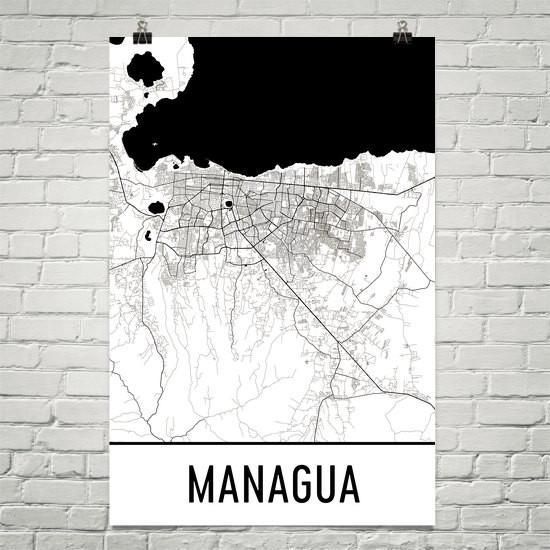 Managua nicaragua street map poster managua and products managua nicaragua street map poster publicscrutiny Image collections