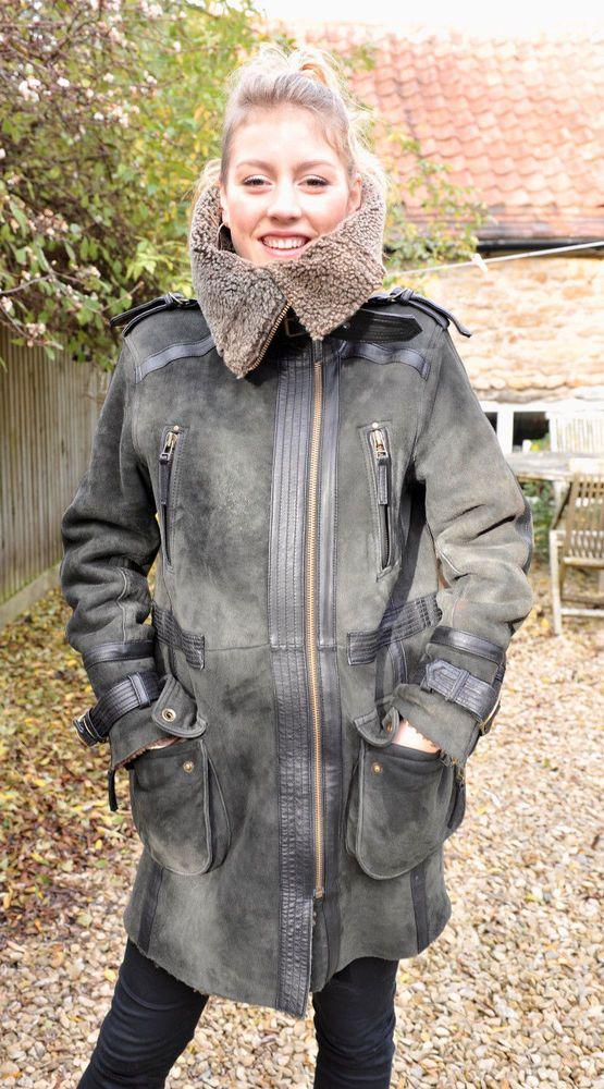 TOPSHOP Genuine Dark Grey Real Sheepskin/Shearling Coat/Jacket UK ...