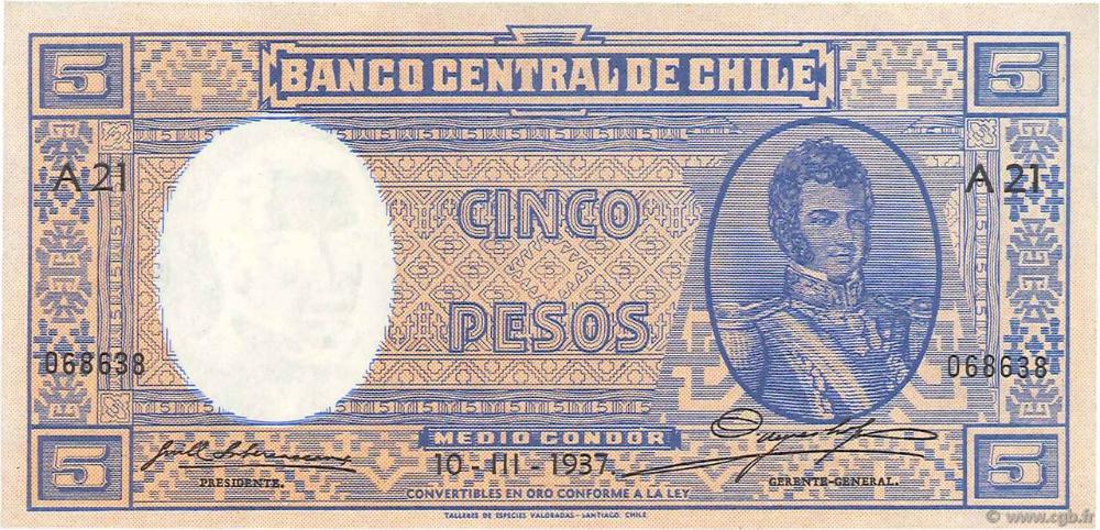 5 Pesos 1 2 Condor Chile 1937 P 091c B75 0287 Banknotes Bank Notes Chile Patagonia Chile